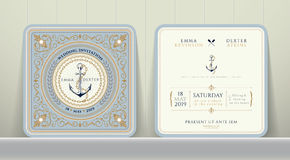 Ancore nautiche d'annata e carta a catena dell'invito di nozze nello stile classico Royalty Illustrazione gratis