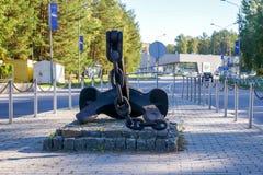 Ancore o memorial no centro de cidade de Visaginas Lituânia fotografia de stock