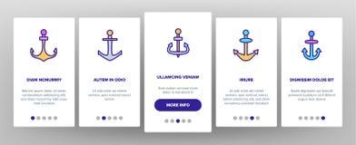 Ancore, schermo mobile della pagina del App di Onboarding di vettore dell'attrezzatura della nave illustrazione di stock