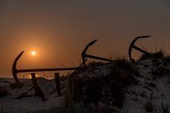 Ancore sulla spiaggia Algarve Portogallo di Barril fotografie stock libere da diritti