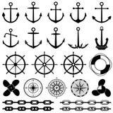 Ancore, timoni, catena, corda, icone di vettore del nodo Elementi nautici per progettazione marina illustrazione di stock