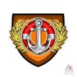 Ancre avec la bouée de sauvetage au milieu de la guirlande d'or de laurier sur le bouclier Logo de sport pour tous équipe ou cham illustration libre de droits