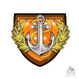 Ancre avec la corde avec la guirlande de laurier d'or au centre du bouclier sur le blanc Logo de sport pour toute équipe ou champ illustration stock