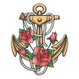 Ancre avec Rose Flowers illustration stock