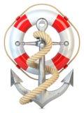 Ancre, bouée de sauvetage et corde Photos stock