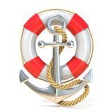 Ancre, bouée de sauvetage et corde 3d rendent Photo libre de droits