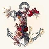 Ancre décorée par les fleurs roses idéales pour des labels pour le logotype o illustration stock