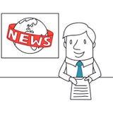 Ancre d'actualités dans le studio de TV lisant les actualités Images libres de droits