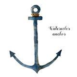 Ancre d'aquarelle avec la corde Illustration nautique peinte à la main d'isolement sur le fond blanc Pour la conception, copie ou Photos stock