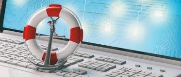 Ancre de bouée de sauvetage et de bateau de la Marine sur le clavier d'ordinateur portable d'ordinateur, bannière illustration 3D illustration libre de droits