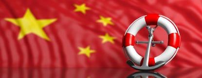Ancre de bouée de sauvetage et de bateau de la Marine sur le fond chinois de drapeau, bannière illustration 3D illustration stock