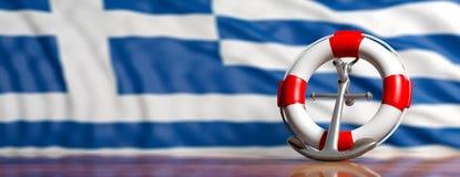 Ancre de bouée de sauvetage et de bateau de la Marine sur le fond grec de drapeau, bannière illustration 3D illustration stock