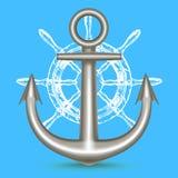 Ancre en métal et volant réalistes de bateau Vecteur illustration de vecteur