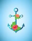 Ancre, fleurs de ketmie et illustration de palmettes rétro Photos stock
