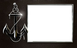Ancre fortement détaillée de fer avec la corde d'isolement sur le fond noir Photos libres de droits