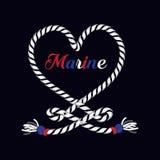 Ancre marine nautique d'impression graphique de T-shirt au coeur de la corde illustration libre de droits