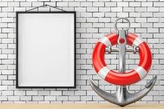Ancre nautique avec la bouée de sauvetage devant le mur de briques avec le blanc Photographie stock