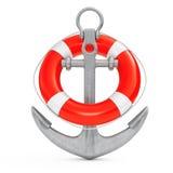 Ancre nautique avec la bouée de sauvetage rendu 3d Photos stock