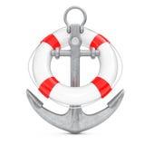 Ancre nautique avec la bouée de sauvetage rendu 3d Images stock