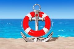 Ancre nautique avec la bouée de sauvetage sur le sable Sunny Beach 3d rendent Images stock