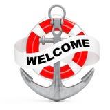 Ancre nautique avec le ruban et le signe bienvenu rendu 3d Photographie stock