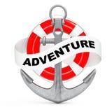 Ancre nautique avec le ruban et le signe d'aventure rendu 3d illustration stock