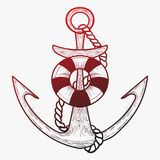 Ancre stylisée de vecteur avec la balise de vie art linéaire tatouage Illustration Libre de Droits