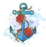 Ancre tirée par la main de vintage et roses rouges illustration libre de droits