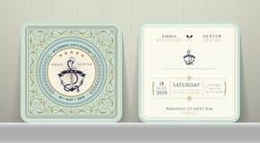 Ancres nautiques de vintage épousant la carte d'invitation dans le style classique Photographie stock