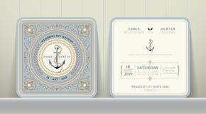 Ancres nautiques de vintage et carte à chaînes d'invitation de mariage dans le style classique Photo stock