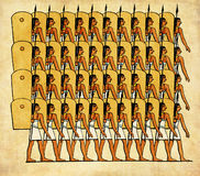Ancyent Egypt warriors. Collage and painted elaboration from engravings middle '800, representing Ancient Egypt warriors going to battle Stock Photography