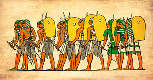 Ancyent Egypt warriors  going to battle Royalty Free Stock Photography