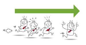 andänder följer ledareleadslinjen en röd rubber yellow royaltyfri illustrationer
