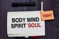Anda för ande för mening för kropp för handskrifttexthandstil Begrepp som betyder det personliga tillståndet för jämviktsterapime arkivfoton