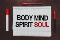 Anda för ande för mening för kropp för handskrifttexthandstil Begrepp som betyder det personliga tillståndet för jämviktsterapime arkivfoto