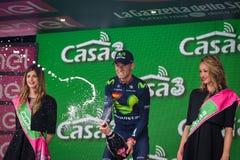 Andalo, Италия 24-ое мая 2016; Alejandro Valverde на подиуме после выигрывать его первую стадию стоковые изображения rf