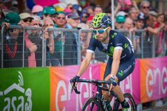 Andalo, Италия 24-ое мая 2016; Giovanni Visconti, профессиональный велосипедист, проходит финишную черту этапа Стоковые Изображения RF