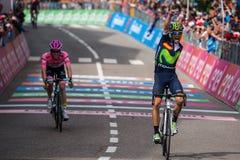 Andalo, Italië 24 Mei, 2016; Alejandro Valverde wint zijn eerste stadium in carrière in de Reis van Italië Stock Fotografie
