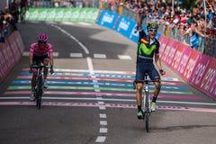 Andalo, Italië 24 Mei, 2016; Alejandro Valverde wint zijn eerste stadium in carrière in de Reis van Italië Royalty-vrije Stock Foto's