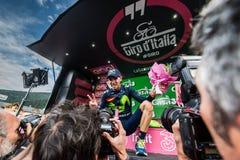 Andalo, Italia 24 de mayo de 2016; Alejandro Valverde en el podio después de ganar Imágenes de archivo libres de regalías
