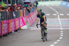 Andalo, Italia 24 de mayo de 2016; Giovanni Visconti, ciclista profesional, pasa la meta de la etapa Imagen de archivo libre de regalías