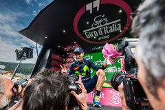 Andalo, Italy May 24, 2016; Alejandro Valverde on the podium after winning. Royalty Free Stock Images