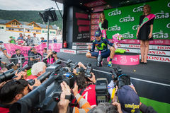 Andalo, Italy May 24, 2016; Alejandro Valverde on the podium after winning. Royalty Free Stock Photos