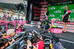 Andalo, Italy May 24, 2016; Alejandro Valverde on the podium after winning. Royalty Free Stock Photography