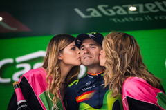 Andalo, Italy May 24, 2016; Alejandro Valverde on the podium after winning. Royalty Free Stock Image