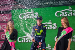 Andalo, Italy May 24, 2016; Alejandro Valverde on the podium after winning. Stock Photography