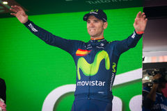 Andalo, Italy May 24, 2016; Alejandro Valverde on the podium after winning. Stock Photos