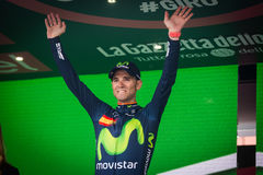 Andalo, Italy May 24, 2016; Alejandro Valverde on the podium after winning. Stock Image