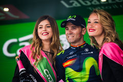 Andalo, Italy May 24, 2016; Alejandro Valverde on the podium after winning. Stock Images