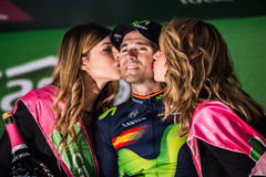 Andalo, Italy May 24, 2016; Alejandro Valverde on the podium after winning. Royalty Free Stock Photo